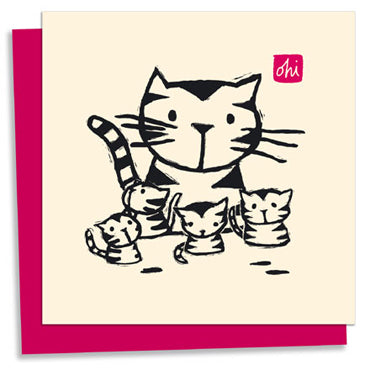 Cat and Kittens letterpress greeting card