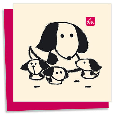 Dog & Pups letterpress greeting card