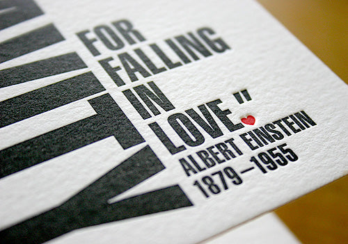 Albert Einstein quote letterpress greeting card