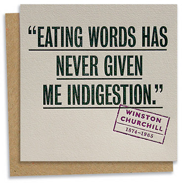 Winston Churchill quote letterpress greeting card
