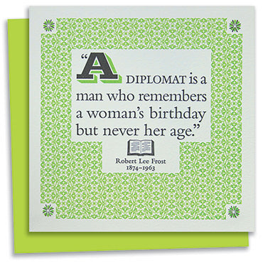 Robert Lee Frost quote letterpress greeting card