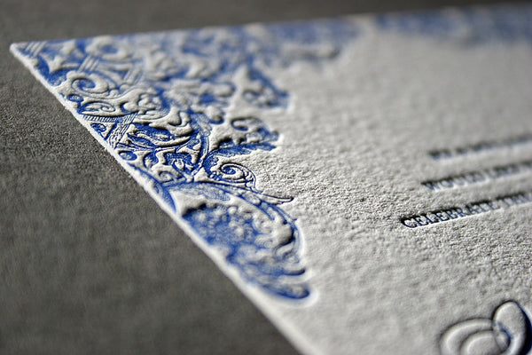Detail of Charlotte letterpress wedding stationery