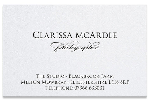 Clarissa letterpress business card