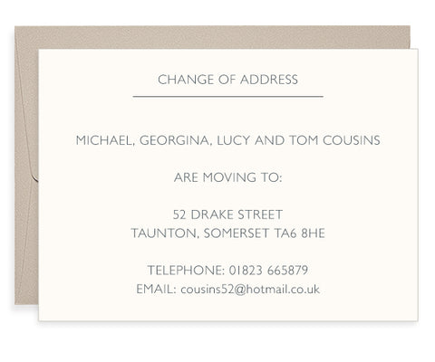 Gill Sans letterpress change of address cards