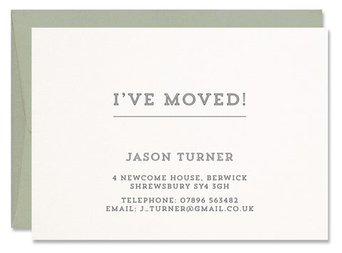 Turner persoanlised letterpress change of address cards