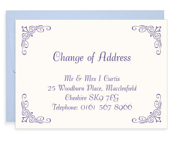 Corner Fleur letterpress change of address cards