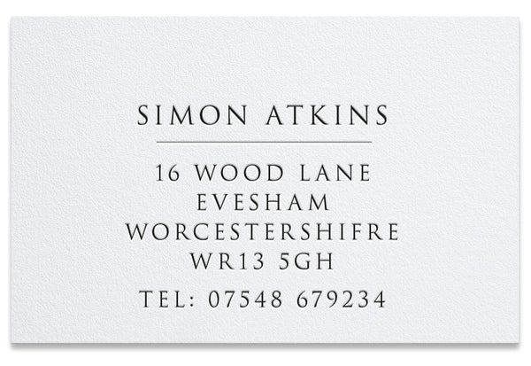 Corsa letterpress business card