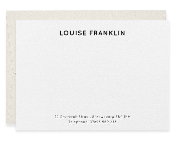 Cromwell personalised letterpress correspondence cards