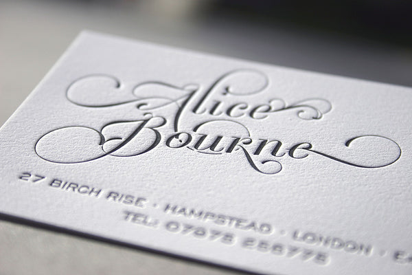 Elegant Curls letterpress business card