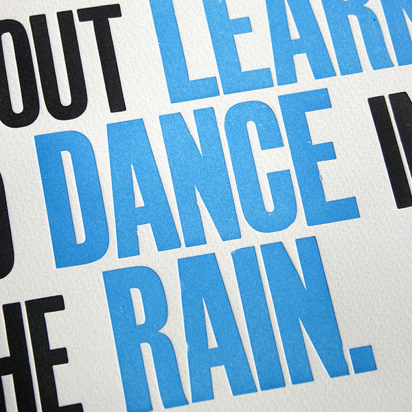 Dance in the rain letterpress wood type print
