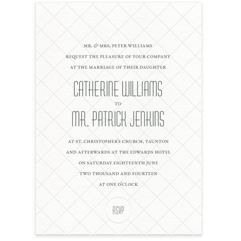 Diamond letterpress wedding invitation