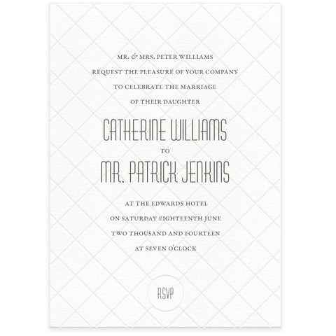 Diamond letterpress wedding invitations