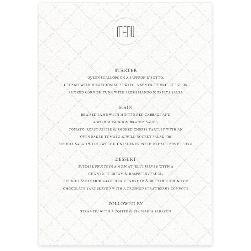 Diamond letterpress menu