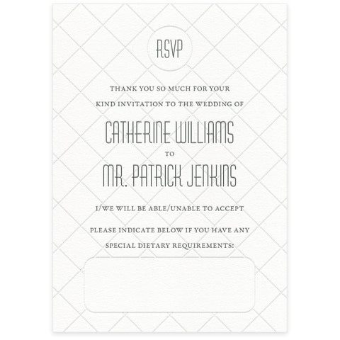 Diamond letterpress RSVP