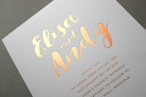 Elisa hot foil wedding invitation