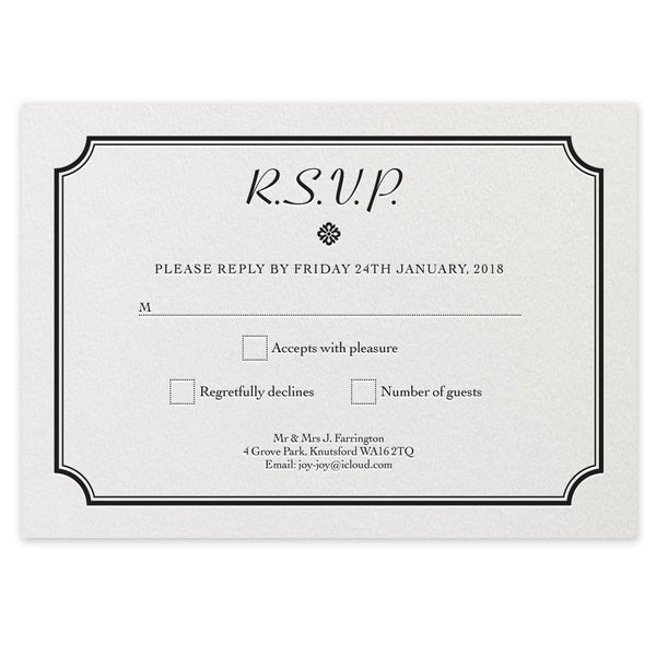 Farrington RSVP - letterpress wedding stationery