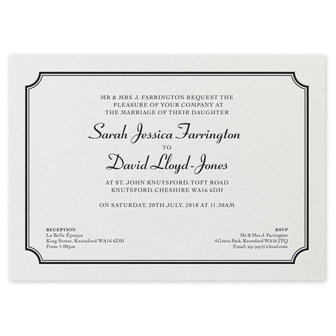 Farrington Day Invitation - letterpress wedding stationery
