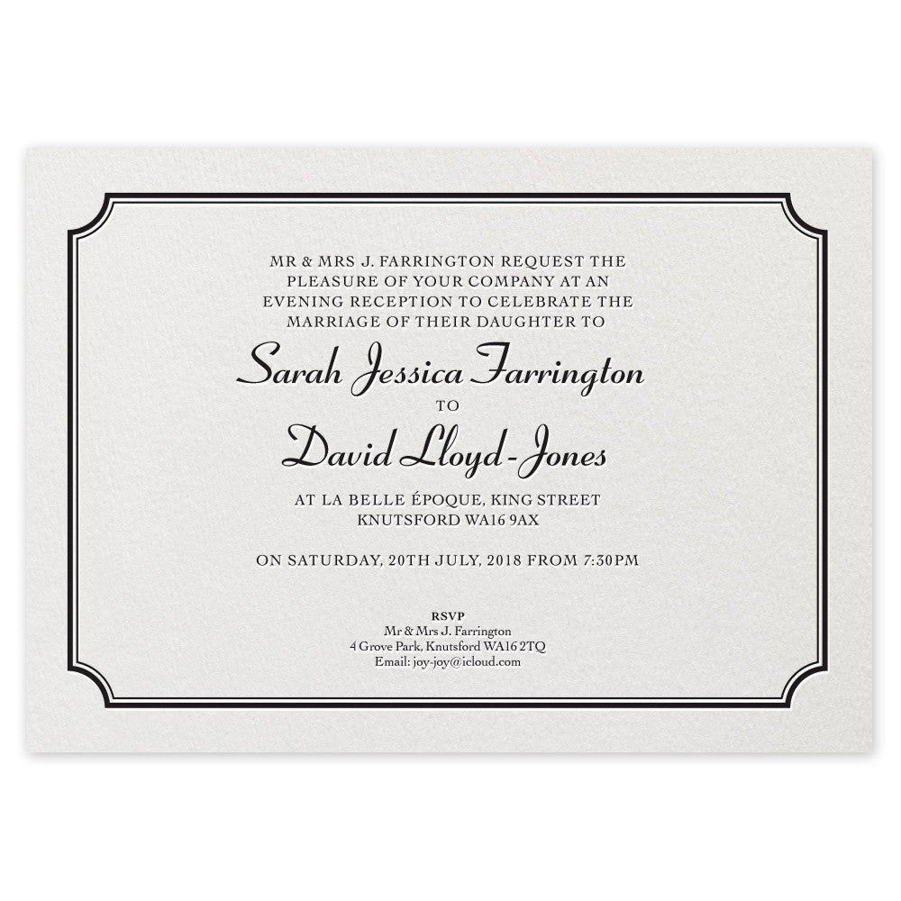 Farrington Evening Invitation - letterpress wedding stationery