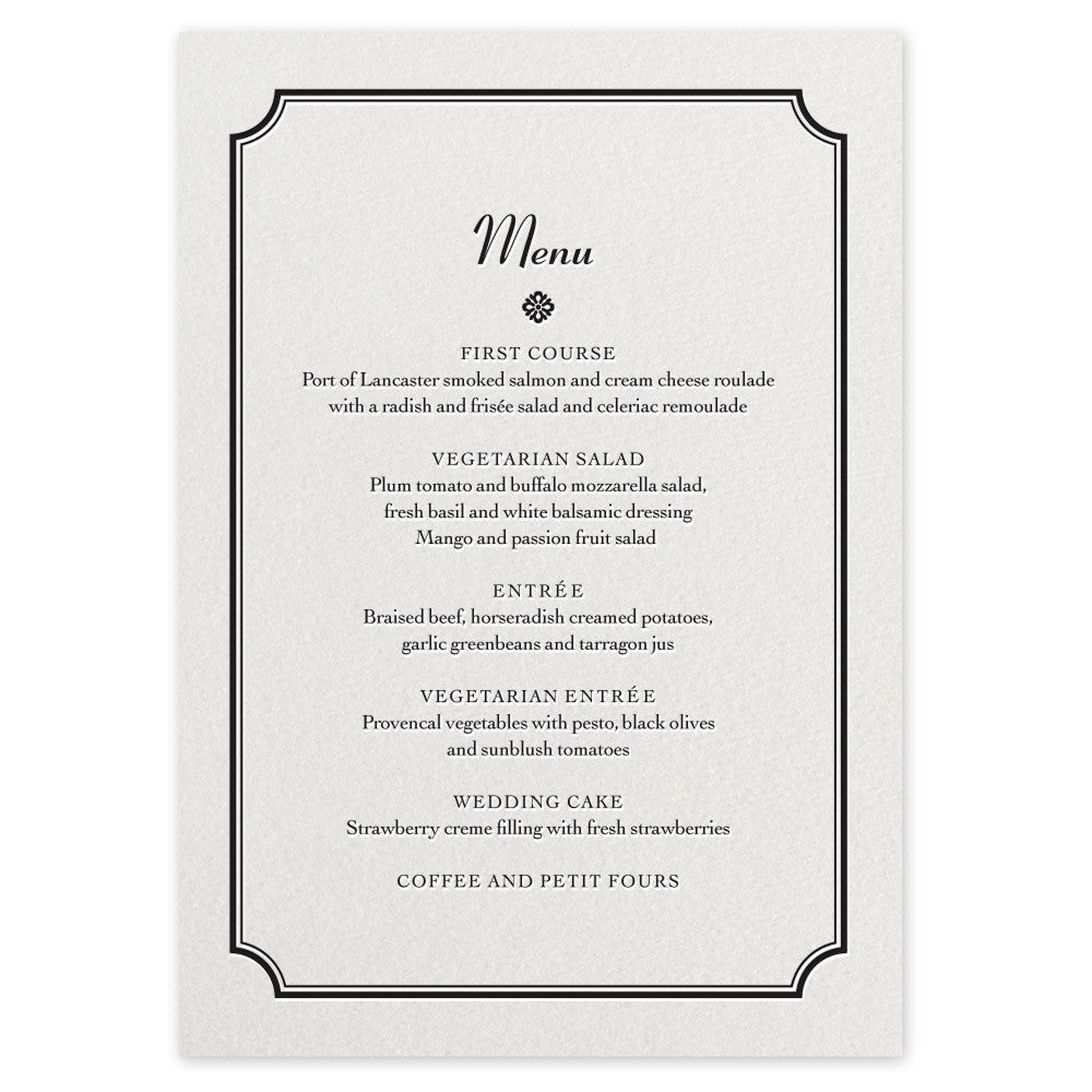 Farrington Menu - letterpress wedding stationery