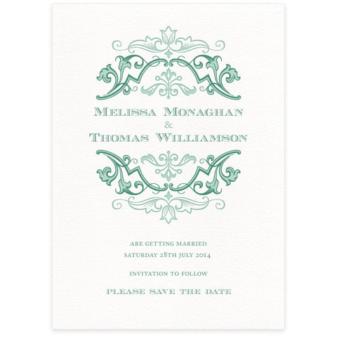 Fleuron Save the Date letterpress wedding stationery