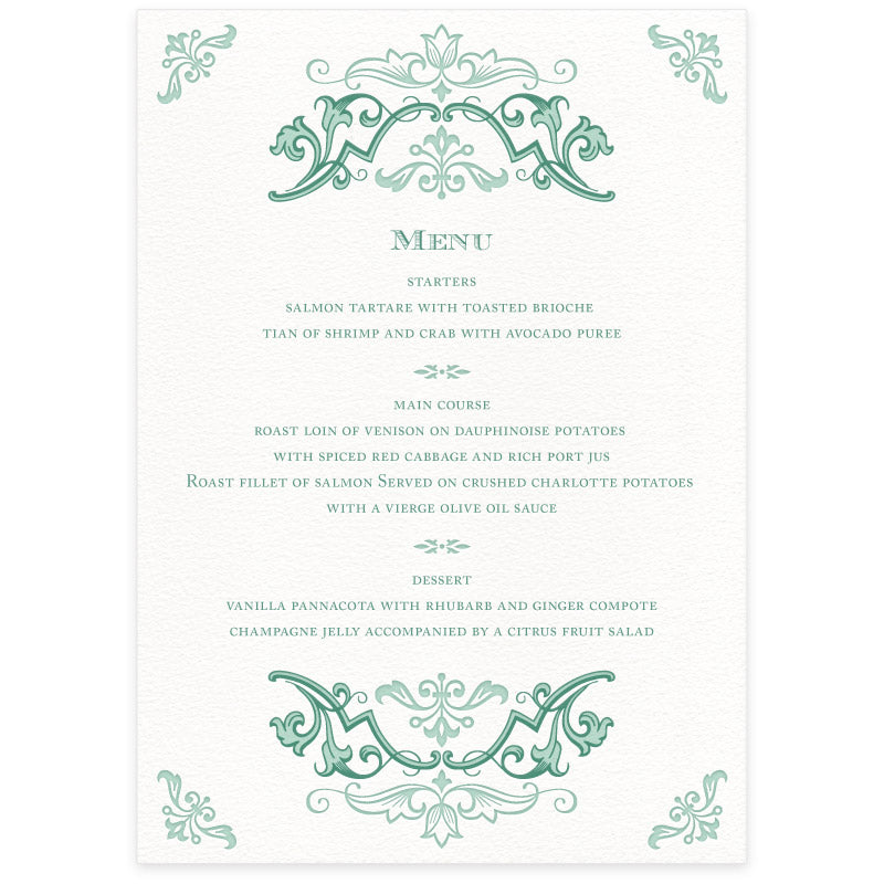 Fleuron menu card