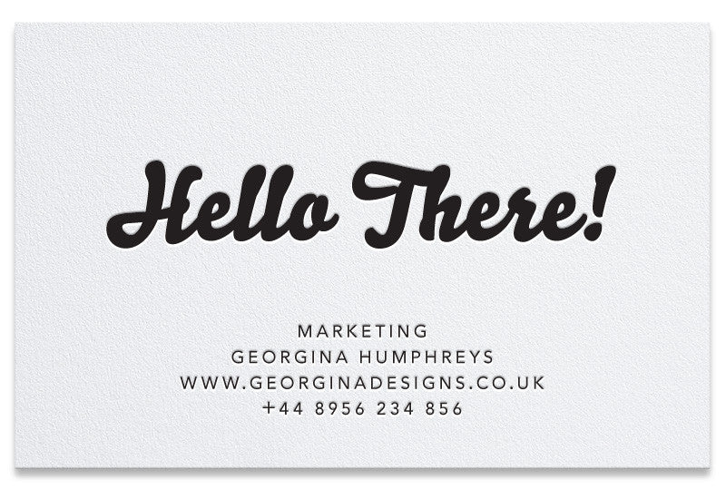 Hello letterpress business cards
