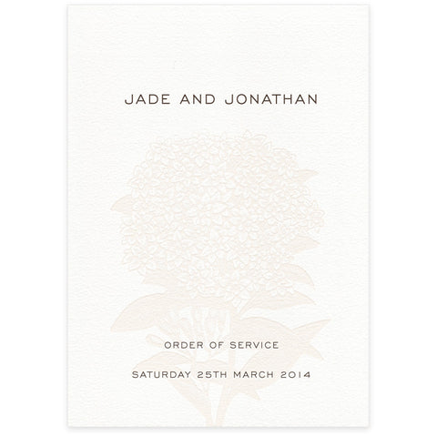 Hydrangea letterpress wedding order of service