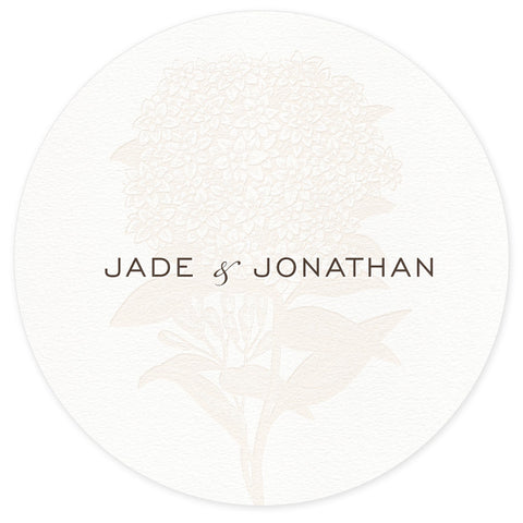 Hydrangea letterpress wedding coaster