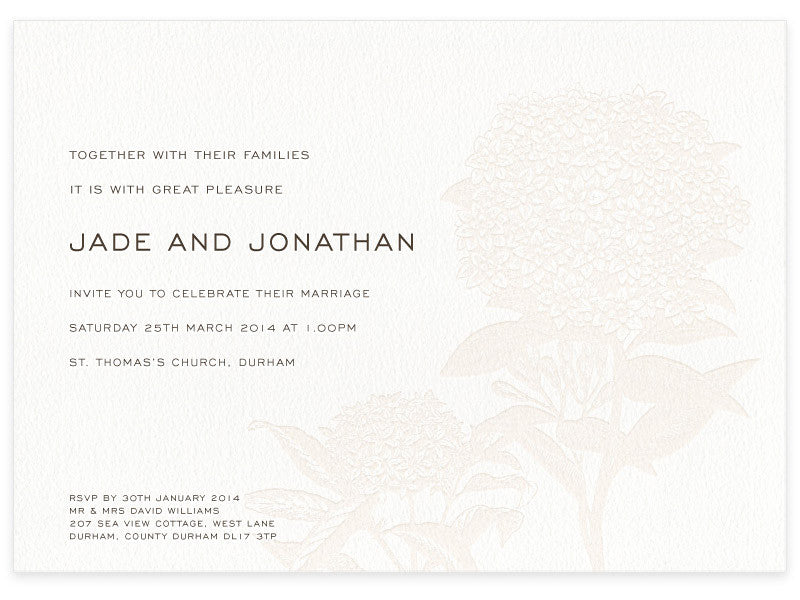 Hydrangea letterpress wedding day invitation
