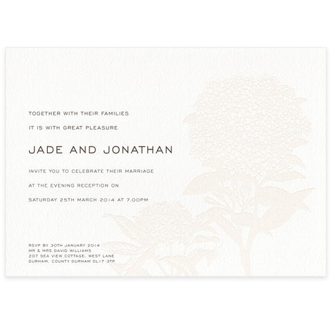 Hydrangea letterpress evening invitation