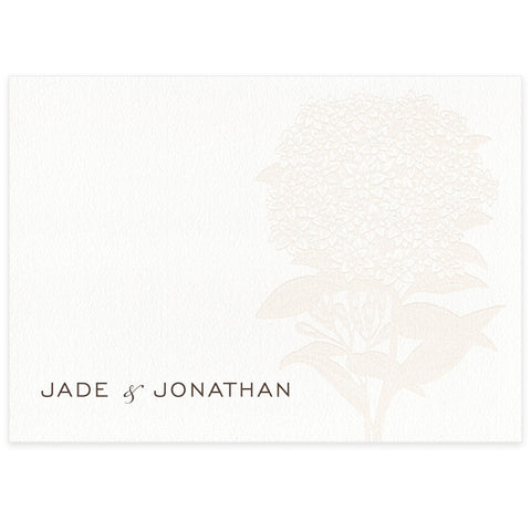 Hydrangea letterpress wedding place card