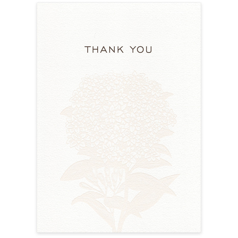 Hydrangea letterpress wedding thank you card