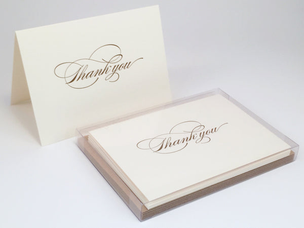 Burgues calligraphy letterpress thank you cards