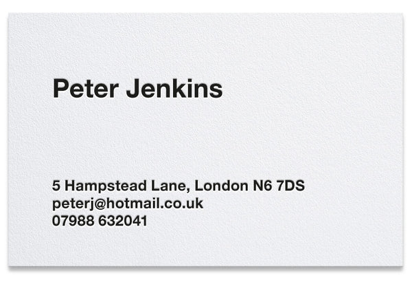 Jenkins letterpress business card