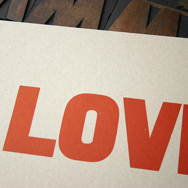 Love letterpress wood type print