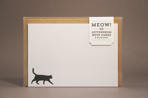 Meow letterpress printed cat note cards
