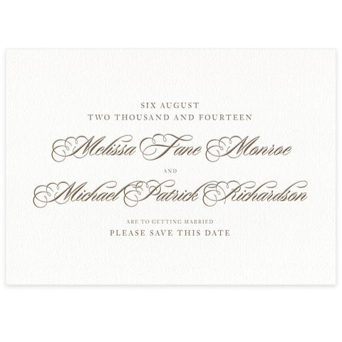 Monroe letterpress save the date card