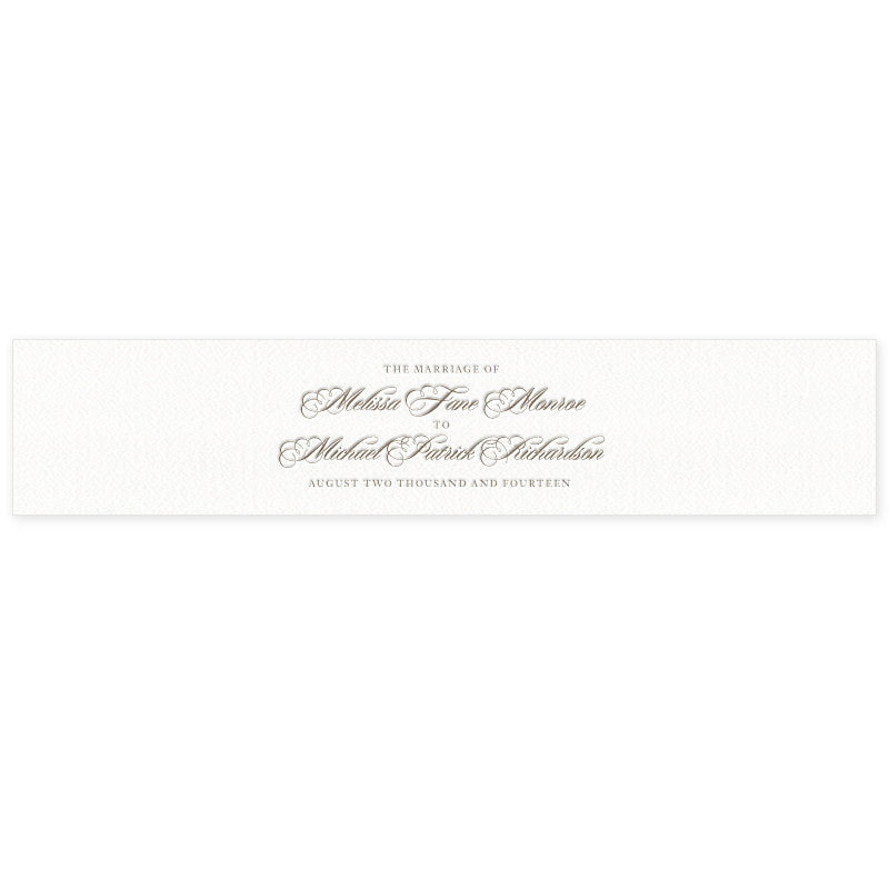 Monroe letterpress wedding stationery belly band