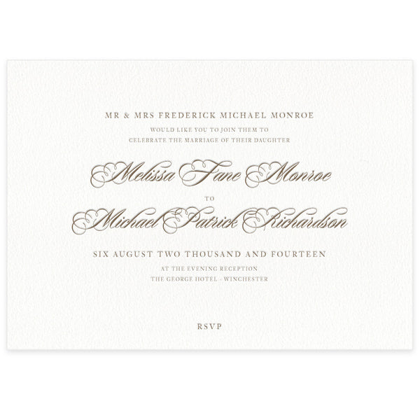 Monroe letterpess wedding invitation