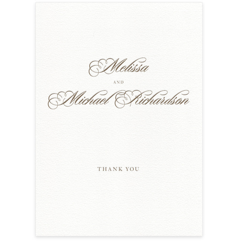 Monroe letterpress thank you card