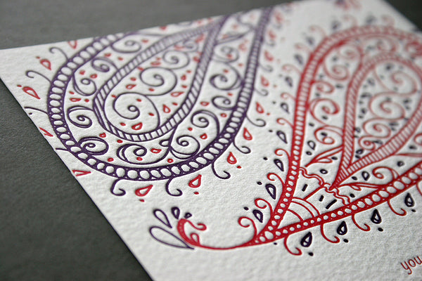 Paisley Save the Date - Indian themed letterpress wedding