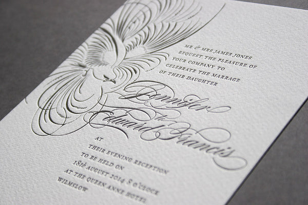 Pluma letterpress wedding invitations