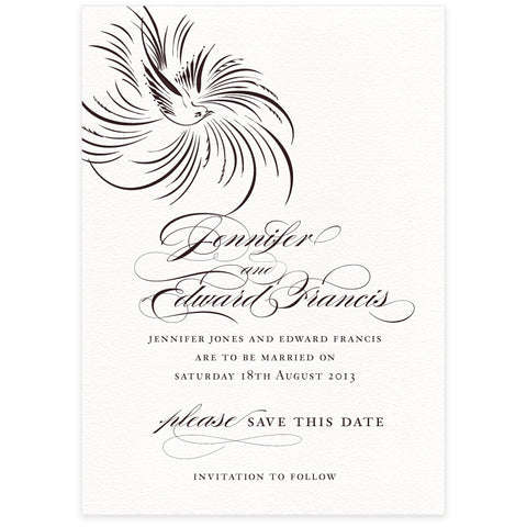 Pluma save the date letterpress wedding stationery