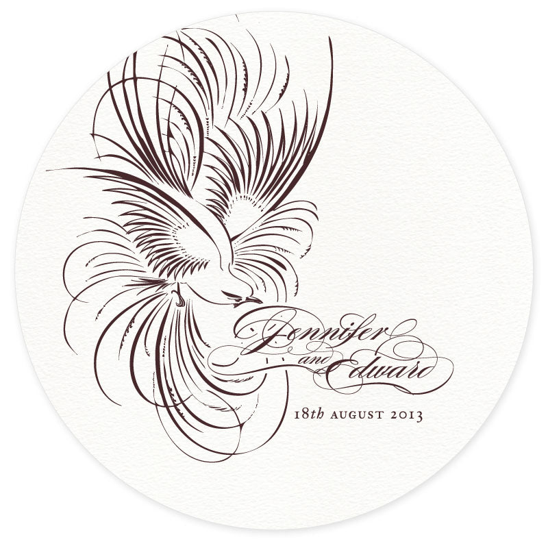 Pluma letterpress wedding coaster