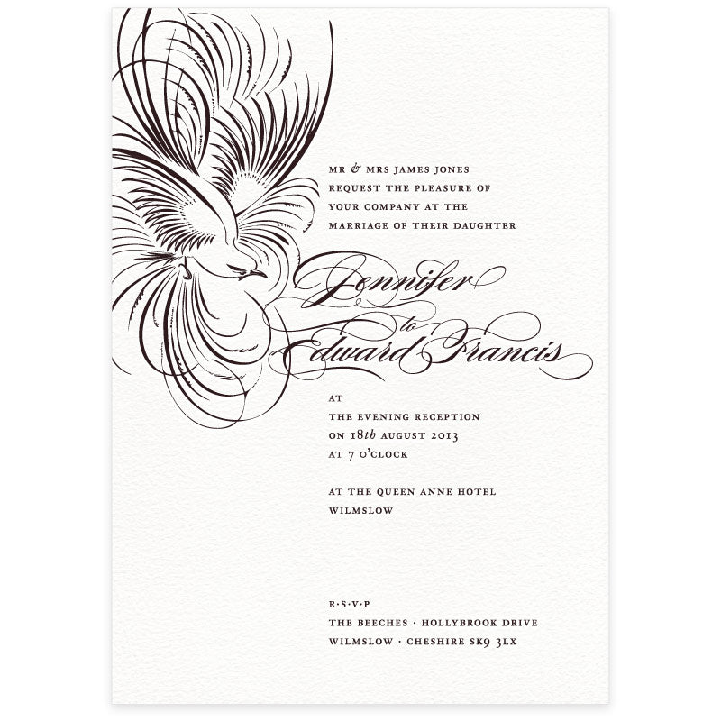 Pluma letterpress wedding invitation