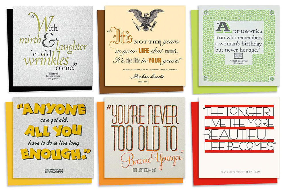 quotes assorted letterpress birthday card pack blush°°