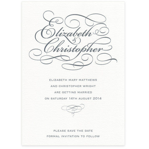 Reynolds letterpress Save the Date wedding stationery