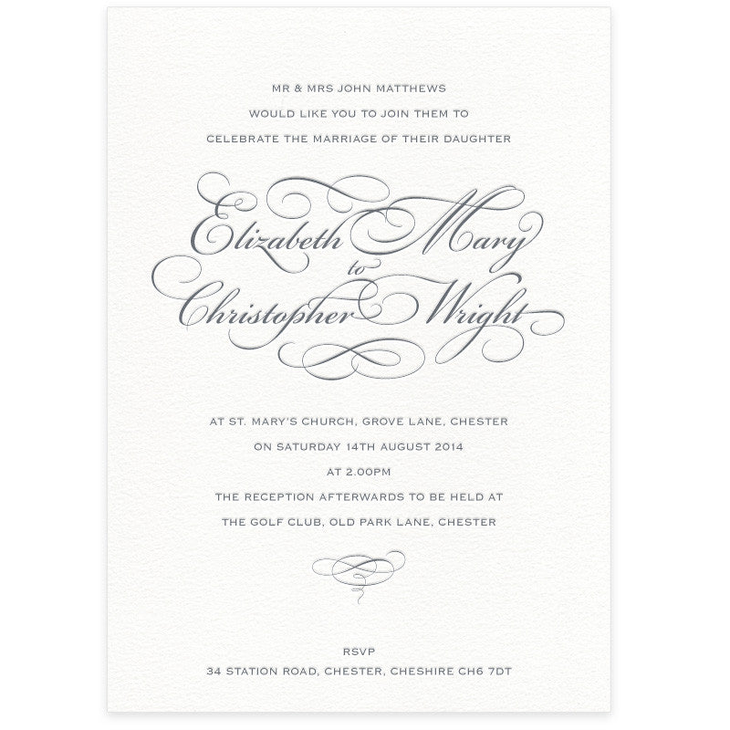 Reynolds letterpress wedding invitation