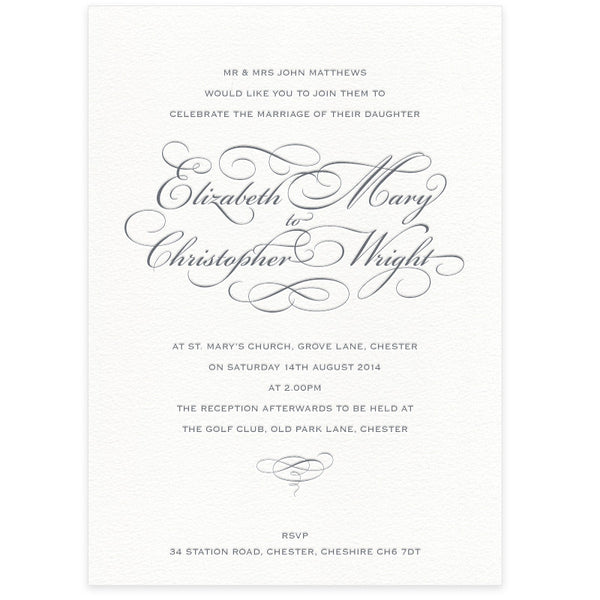 Reynolds letterpress wedding invitation & RSVP bundle