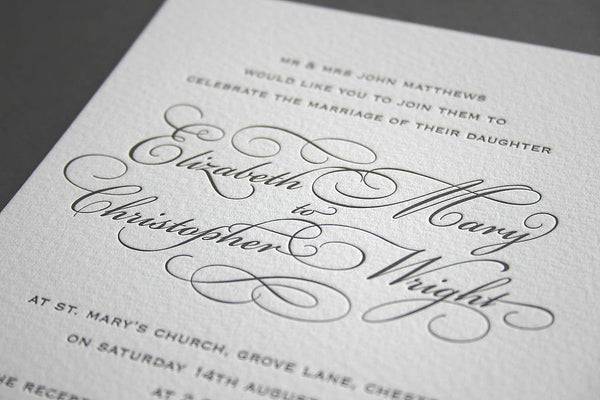 Reynolds evening letterpress wedding invitation
